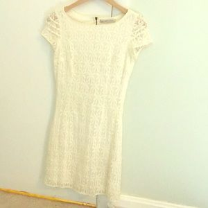 Zara Lace Bright Cream Dress